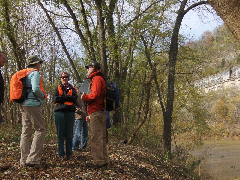 Marty Parris from the Kentucky Geological Survey led a hike and discussion of geology at one of the Conservancy's Kentucky River Palisades nature preserves.