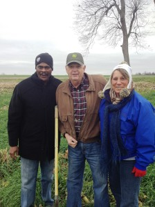 (from left) Leonard Jordan, Jerry Peery and NRCS State Conservationist, Karen Woodrich, at Springhill Farms